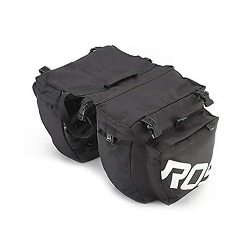 BAACD 3-in-1-Fahrradtasche zur Befestigung am Gepäckträger. Wasserdichte Zweischicht-Reisetasche Mountainbike-Rahmentasche Reittasche schwarz grün-black