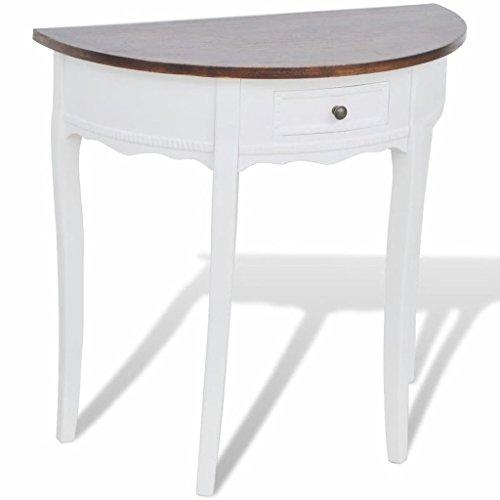 GoodWork4UEu Konsolentisch mit Schublade und Brauner Tischplatte Halbrund Möbel Tische Ziertische Beistelltische