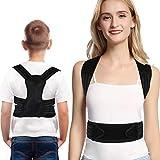 Corrector de postura para niños adolescentes, soporte para espalda y hombros, soporte para la columna vertebral, alisador de espalda con 2 placas de soporte de aluminio (S)