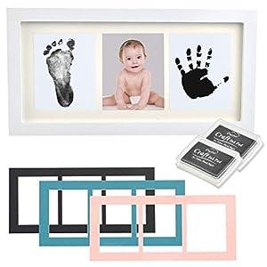 WOWOSS Kit de Marco de Fotos para Manos y Huellas de Bebé, Marco de Madera con Almohadilla de Tinta, Decoración o Regalo de Baby Showe