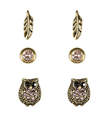 SIX 3er Set Ohrstecker, Ohrringe mit Eulen, Federn und kleinen Strasssteinen in rosa (100-610)