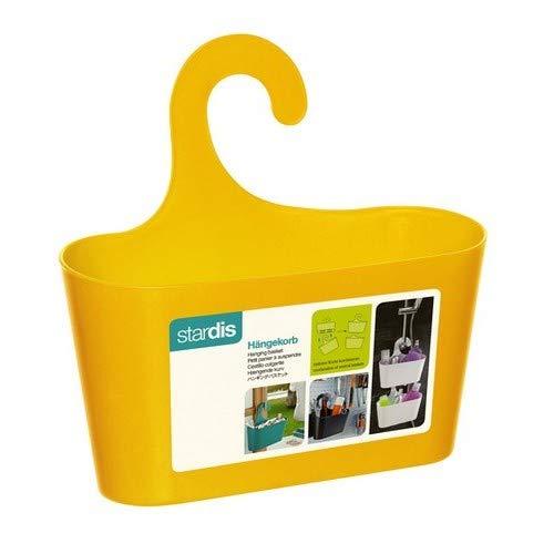 Duschkorb gelb mit Haken zum Einhängen Duschregal Badregal Bad Utensilo Hängeregal