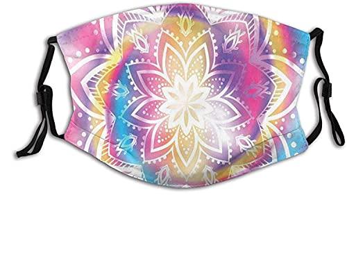KINGAM Cómoda máscara resistente al viento, diseño de mandala de Oriente Medio con rayas en espiral, fondo de difuminación colorido, decoraciones faciales impresas para mujeres y hombres adultos