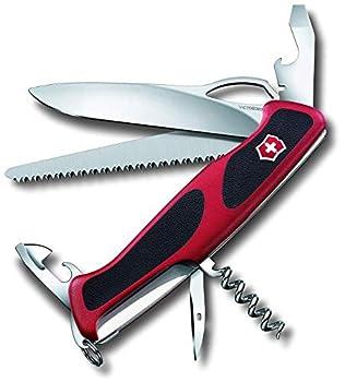 Victorinox Ranger Grip 79 Couteau de Poche Suisse, Multitool, 12 Fonctions, Lame Fixe, Ouverture Une Main, Rouge/Noir & Etui Etui Noir