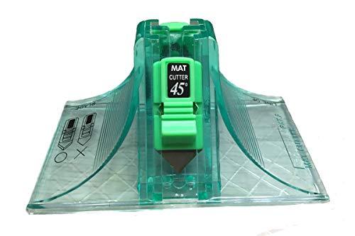 Cutter 45 & 90 Degree Bevel Mat Board Cutter, with 3pcs Free Replacement Blade (Green)