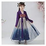 Disfraz de Hanfu de otoño para niña, disfraz de Super Hada, estilo chino, original mejorado, vestido de cielo estrellado (color: estilo B, tamaño: 130 cm)