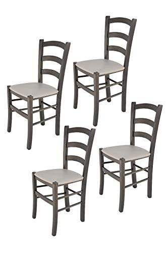 Tommychairs - Set 4 sillas Venice para Cocina y Comedor, Estructura en Madera de Haya Color anilina Gris Oscuro y Asiento tapizado en Polipiel Color Gris Claro