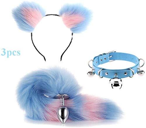 Jjek Cos Bell-Halsband - (blau & pink) Fluffy B-Ütt P-l-ǔ-g Fuchsschwanz Plüsch und Katze-Ohr-Anime-Set for Frauen Glamour Female Masquerade Props 3pcs (Size : S)