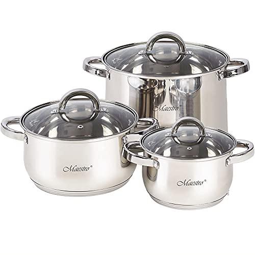 Maestro MR-2120-6L Batería de Cocina Acero Inoxidable, 6 Piezas, Inducción, 3 Cacerolas, 3 Tapas de Cristal, Apta Para Todo Tipo de Cocinas, Apta Lavavajillas