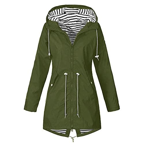 Womens Rain Jacket Waterproof Outdoor Active Trench Raincoat with Hood Lightweight Plus Size Vests for Girls