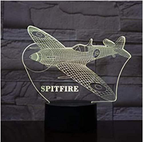 3D Nachtlampje Kleurrijk Vliegtuig Spitfire Slimme Afstandsbediening Kleurverloop Sfeer Licht Geschenk Touch Schakelaar