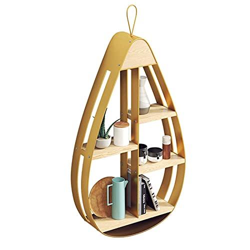 HJW Praktische opbergrek Iron Art drijvende plank 4 Tier, Home Wall Mount Opbergrek voor fotolijst Boek Plant Pot Cups Modern Design 1Huiyang-01020, Metallic