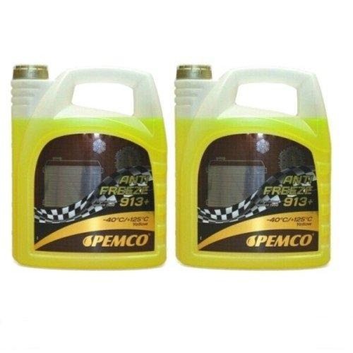 10 Liter (2x5 Liter) Pemco 913+ 913 Plus Kühler Frostschutz Kühlmittel bis -40°C gelb