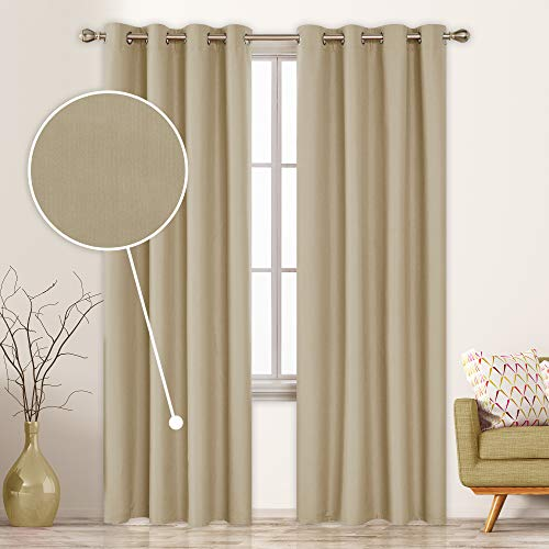 Deconovo Complete Blackout Curtains for Bedroom 84 Inch Long Composited Thermal Insulated Grommet Room Darkening Panels 52x84 Inch Khaki Set of 2