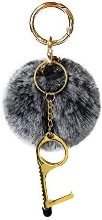 Pom Pom Keychain No Touch Door Opener Tool Set Artificial Fur Plush Ball and Public Door Handle product image