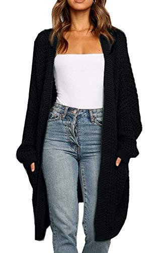 ZIYYOOHY Damen Long Cardigan Sweaters Übergroße offene Fledermausärmel Herbst Strick Mäntel mit Tasche (Schwarz, XL)
