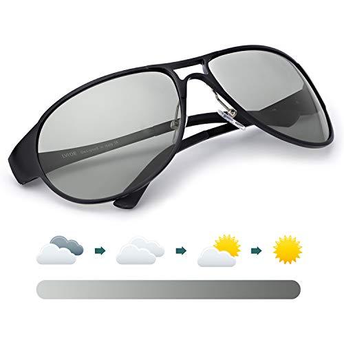 LVIOE Herren Polarisierte Sonnenbrille Groß Schwarz Metallrahmens für das Fahren Angeln Outdoor-Aktivitäten 100% UVA & UVB Schutz