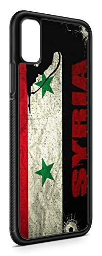 Kompatibel mit iPhone XR Silikon Handyhülle Flexibles Slim Case Cover Syrien Syria Fahne Flagge Schwarz
