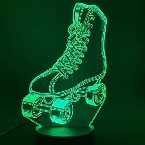3D Illusion patin à roulettes Lampe Interrupteur tactile couleur 7 Changing Room Home Decor Veilleuse enfants Enfant fille Cadeaux Lampe de bureau de nuit lumière de nuit