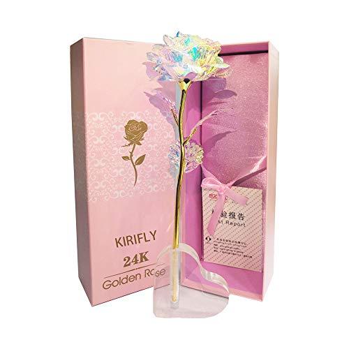 KIRIFLY Gold Rose Geschenk für Frauen Blumen Künstlich Deko Unechte Blumen für Hochzeitstag Freundin Ehefrau Muttertag Dankeschön Schwester Jahrestag Weihnachtstag
