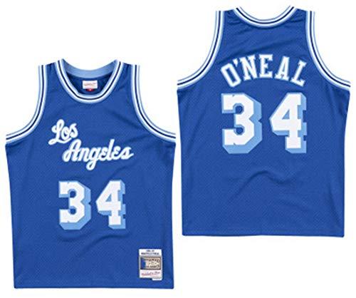 GIHI Männer NBA Jersey, NBA Lakers Shaquille O\'Neal # 34 Fan Jersey Retro Gesticktes Ineinander Greifen Basketball-Trainings-Kleidung, Unisex Ärmel-T-Shirt,XL(180~185cm/85~95kg)