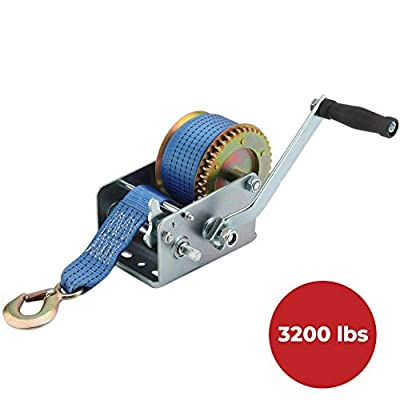 Powhill 3200lbs Polyester Strap 2 Gear Hand Winch Hand Crank Gear Winch Atv Boat Trailer