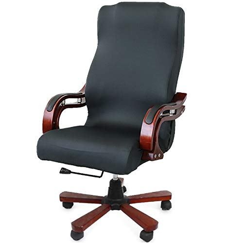 CAVEEN Office Chair Cover Computer Chair Universal Boss Chair Cover Modern Simplism Style High Back Large Size (Chair not Included) Dark Gray Large