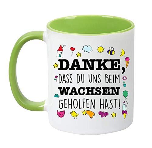 TassenTicker - Danke, DASS du Uns beim wachsen geholfen hast! - Erzieher - Erzieherin - Abschied - Geschenk - Kindergarten - Kita - Tasse - Becher - Geschenke - mit Spruch (Grün)