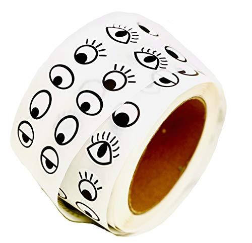 Klebeaugen basteln I 1000 Paar I MAXI-Rolle selbstklebend 2000 Stk bastel Augen auf Rolle + GRATIS Mal Überraschung I Kunststoff Augen für Kunsthandwerk Spielzeug Zubehör (1000 Paar, Schwarz- Weiß)