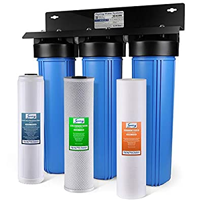 "iSpring WGB32B-PB 3-Stage Whole House Water Filtration System w/ 20"" x 4.5"" Big Blue Fine Sediment, Carbon Block, and Lead Reducing Filters"