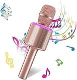 Bearbro Microfono Karaoke Wireless Bluetooth,4-in-1 Palmare Portatile Microfoni Wireless con Luce LED Altoparlante per Casa KTV Regalo di Compleanno,per PC/Android/IOS/Smartphone/Ipad (Oro rosa)