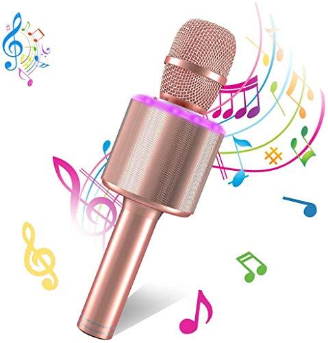 Bearbro Micrófono Inalámbrico de Karaoke Bluetooth,4 en 1 Microfono Inalámbrico Portátil con Luces LED KTV Ffiestas en el Hogar Niños regalo de Cumpleaños,para iPhone/Android/iPad/PC (Oro rosa)