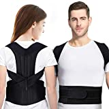 Posture Corrector for Men and Women Adjustable Back Brace with Back Support for Correct Posture and Relieve Pain in Neck, Back and Shoulder (Black, M)