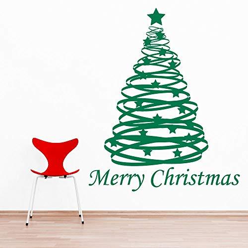 Vrolijk Kerstster Kerstboom Decoratie Decal Vinyl 42x57cm