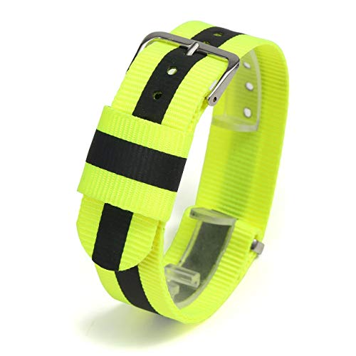 JSDDE Nylon NATO Uhrenarmband Textil Uhrenband Reflektierende Uhrband Sport Militär Ersatzarmband mit Edelstahl Dornschließe 20mm Watch Strap (Gelb)