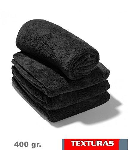 Texturas - 2X1 - Toalla Gym Peluquería 400 gr/m2 Color Negro O Blanco Algodón 100% 100X50 cms (Black)