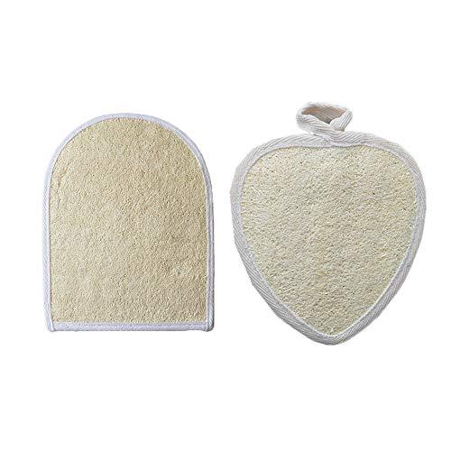 Lot de 2 gants en loofah exfoliants pour le bain, la douche, le spa, le nettoyage de la peau morte et le bain
