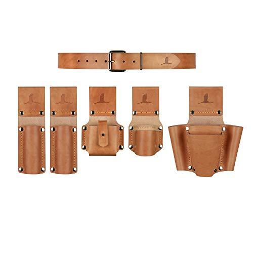 Gerüstbauer-Bergmann Werkzeuggürtel Komplett-Set aus Leder, Gürtelgröße M, Taillenumfang 80-90cm