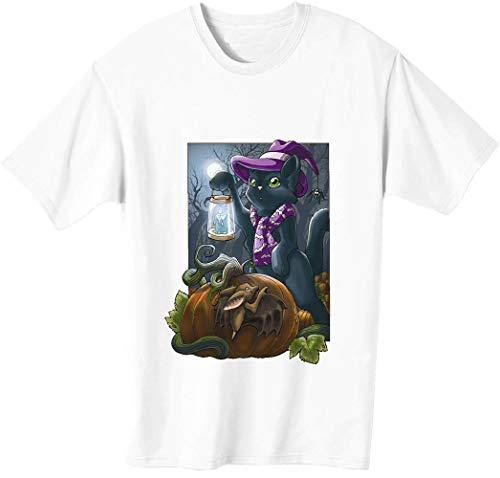 Lindo gato asustado murcilago y una calabaza camiseta para hombre bnft