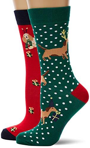 Joules Damen Cracking 3Pk Socken, 100 DEN, Mehrfarbig (Red Multi Xmas Dog RDMLTXMSDG), One size