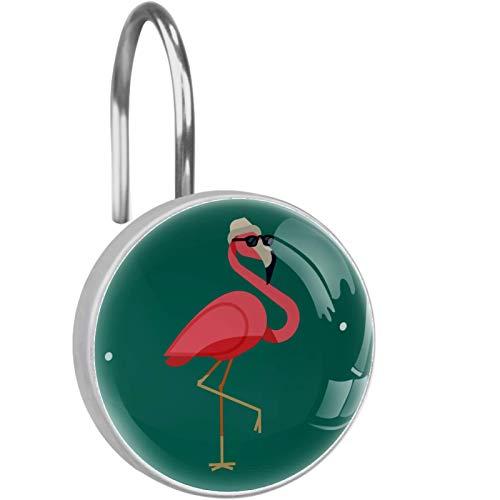 FURINKAZAN Flamingo Wear - Ganchos para cortina de ducha con diseño de gafas de sol