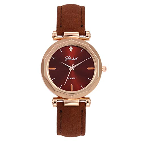 Dorical Damen Luxury Uhr Analog Quarz mit Armband,Crystal Wristwatch(Braun,One Size)