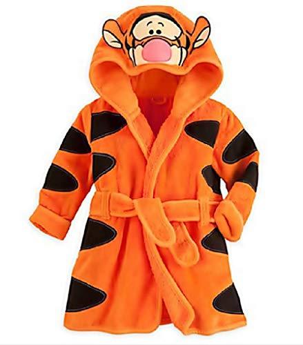 EVRYLON Tiger Bademantel Baby Bademantel mit Hut größe 120 4/5 Jahre orange