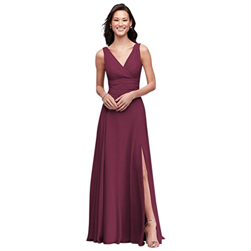 David's Bridal Surplice Tank Long Chiffon Bridesmaid Dress Style F19831, Wine, 6