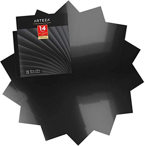 Arteza Vinilo textil termoadhesivo negro | 25,4 x 30,5 cm | Caja de 14 hojas | Vinilo térmico resistente, fácil de pelar y sin tóxicos | Apto para cualquier máquina de corte | Vinilo negro para telas