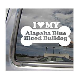 I Heart Love My Alapaha Blue Blood Bulldog - Dog Bone Pure Breed Cars Trucks Moped Helmet Hard Hat Surfboard Skateboard Auto Automotive Craft Laptop Vinyl Decal Store Window Wall Sticker 13026 38
