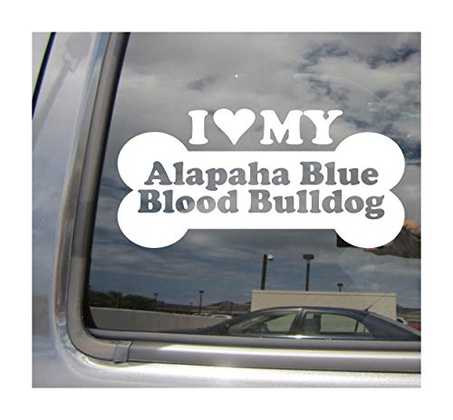 I Heart Love My Alapaha Blue Blood Bulldog - Dog Bone Pure Breed Cars Trucks Moped Helmet Hard Hat Surfboard Skateboard Auto Automotive Craft Laptop Vinyl Decal Store Window Wall Sticker 13026 1