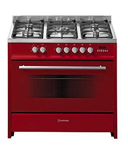 Meireles EV8 90 SP R-D - Cocina de gas con 5 quemadores y horno eléctrico (90 cm), color rojo