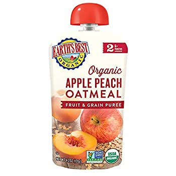 Earth s Best Organic Stage 2 Baby Food Apple and Peach Oatmeal 4.2 Oz Pouch  Pack of 12