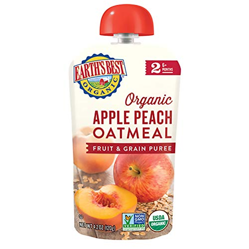 Earth's Best Organic Stage 2 Baby Food, Apple and Peach Oatmeal, 4.2 Oz Pouch (Pack of 12)